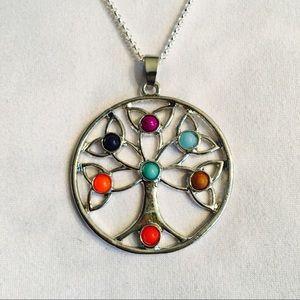 7-Chakra Tree Of Life Pendant Necklace Stone Alloy